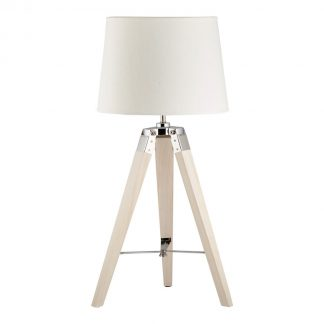 Small Tripod Lamp with White Shade
