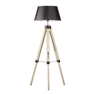 Large Tripod Lamp with Black Shade